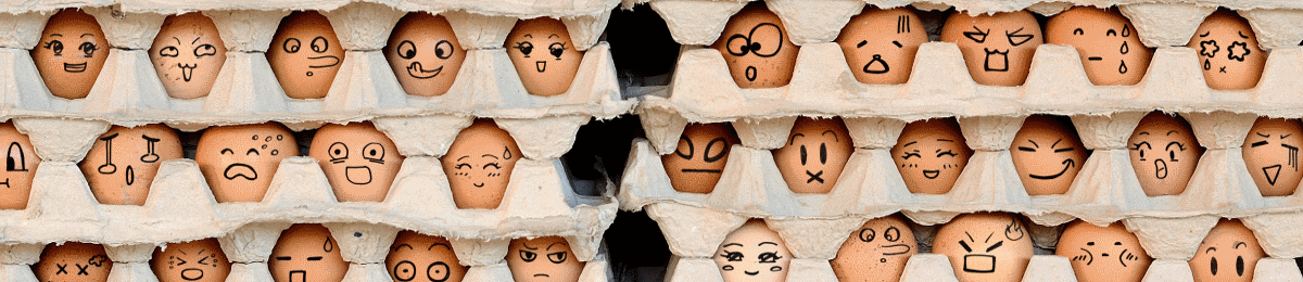 Image of eggs with faces drawn on them