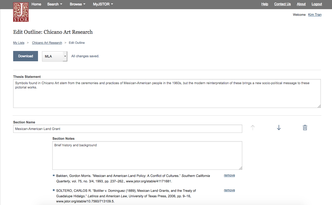 Screenshot of JSTOR Outline Builder