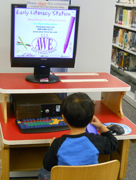 child using an awe station