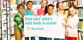 kids holding sign about finding your child's next book to enjoy via Beanstack