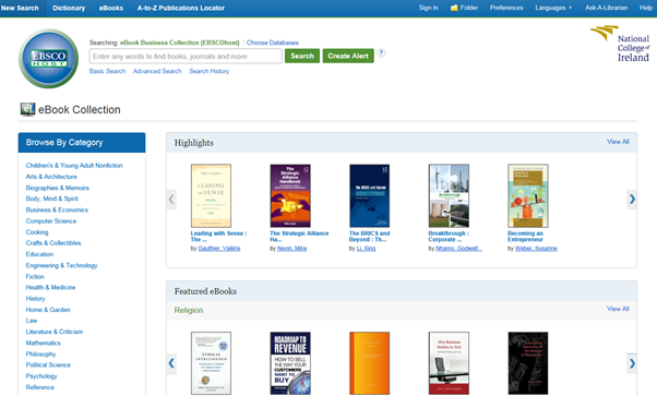 Image of EBSCO eBooks browse