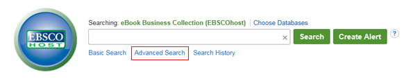 Image of EBSCO eBooks advance search link