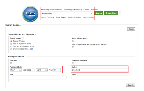Image of EBSCO eBooks basic search page