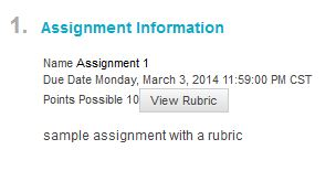 view rubric icon assignment information