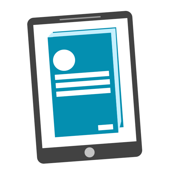 ebook icon, picture of a print book on an ereader tablet