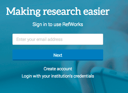 New RefWorks 3 login page