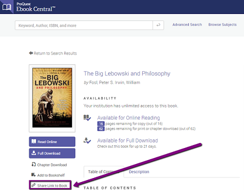 The Share Link to Book link is located on the left side of the screen. It is the fifth link underneath the image of the book cover.