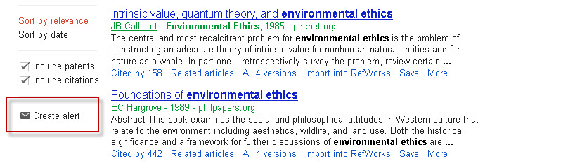 Google Scholar search results screen with the Create alert link highlighted.