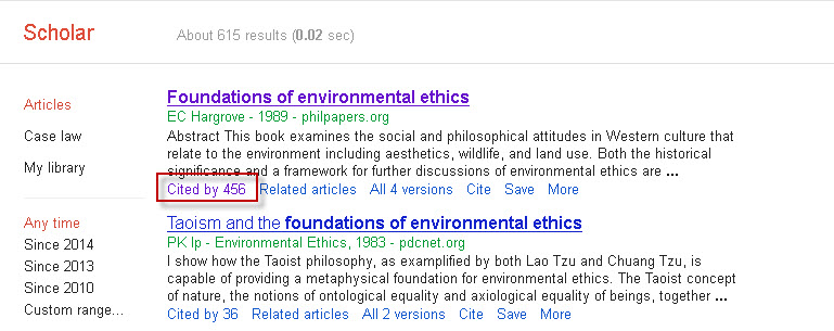"Google Scholar search results screen with the ""Cited by"" link highlighted."