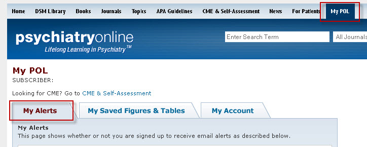 PsychiatryOnline screenshot showing the My Alerts tab.