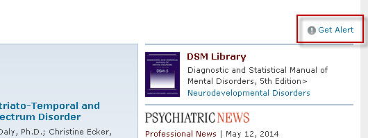 PsychiatryOnline screenshot with the Get Alert link highlighted.