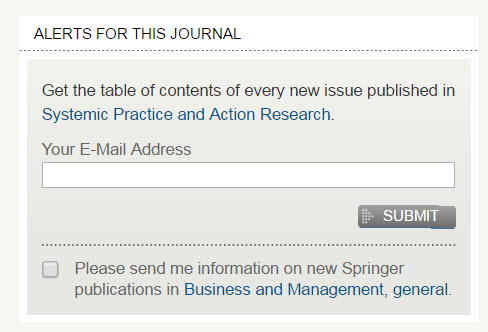 "SpringerLink ""Alerts For This Journal"" screenshot."