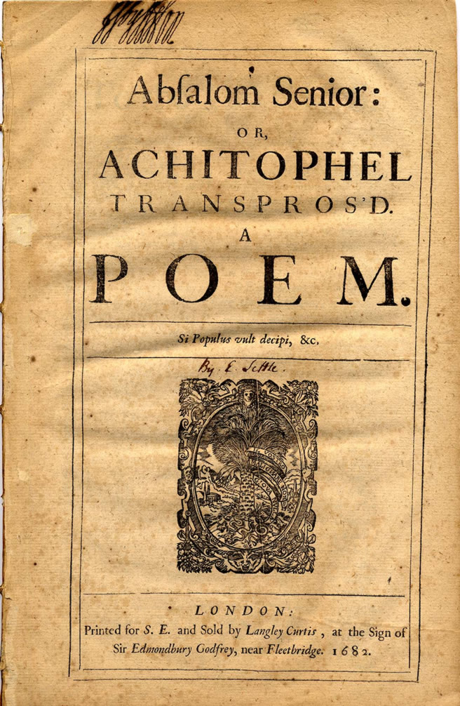 Absalom Senior: Achitophel Poem Modern European History, Literature, & Culture Collection