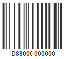 example of a library barcode; all student barcode numbers start with D and consist of 11 digits, usually starting with 88