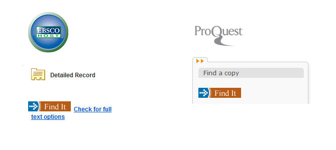 Find It button in EBSCOhost and ProQuest databases