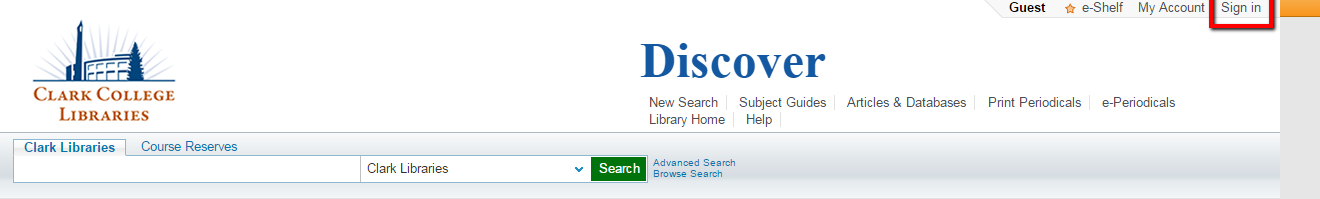 "Discover catalog with red box around ""Sign in"""