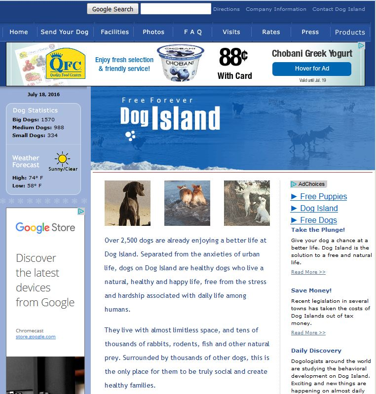 screenshot of home page for Dog idland website