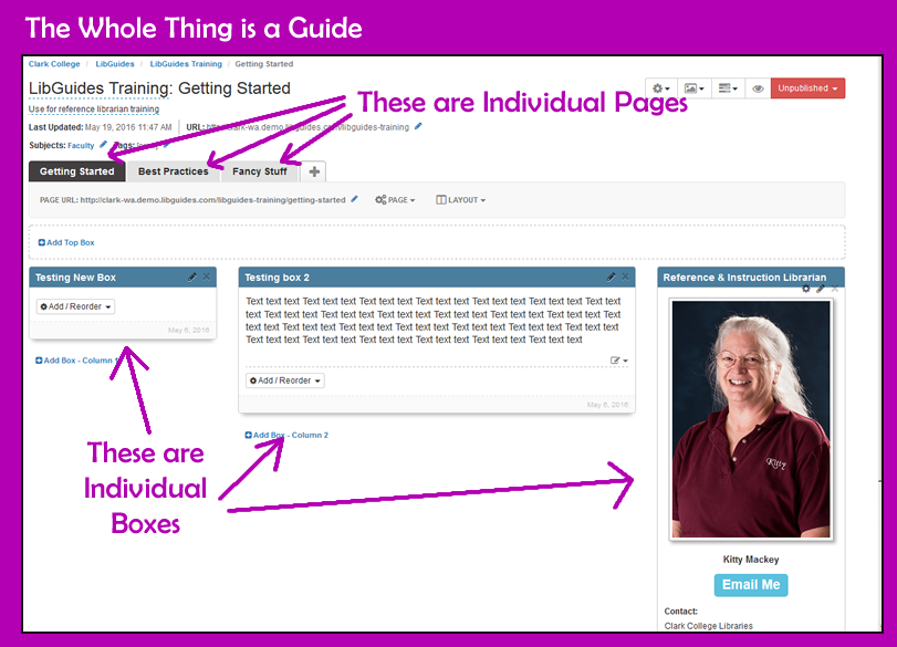libguides guides, pages and boxes
