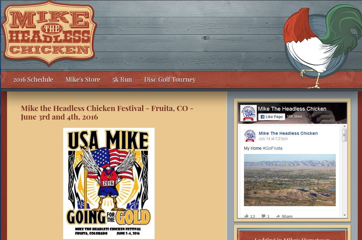 screenshot of the homepage for Mike the Headless Chicken