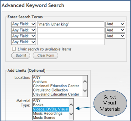 Advanced Keyword Search -- Film Search