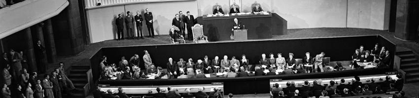 General view of the opening meeting of the third Regular Session of the United Nations General Assembly as M. Auriol, President of the French Republic, welcomes the delegates to Paris and to the Palais de Chaillot.  Seated at dais, left to right, are: Trygve Lie, United Nations Secretary-General; Dr. Juan A. Bramuglia of Argentina, acting Assembly President, and Andrew W. Cordier, Executive Assistant to the Secretary-General. (21 September 1948 Paris, France)