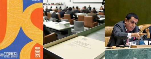 Show the UN Yearbook, a document and a picture of the President of the General Assembly