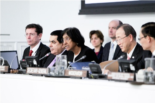 ECOSOC Meeting Focuses on Strengthening Human Rights Treaty Bodies. Navi Pillay, United Nations High Commissioner for Human Rights, speaks at the treaty body strengthening consultations for States party to international human rights treaties held by the Economic and Social Council (ECOSOC) today. On stage, from left to right are: Ivan Simonovic, Assistant Secretary-General in the Office of the High Commissioner for Human Rights; Nassir Abdulaziz Al-Nasser, President of the General Assembly; Ms. Pillay; and Secretary-General Ban Ki-moon. 02 April 2012 United Nations, New York