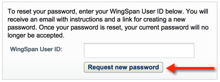 Request new password page