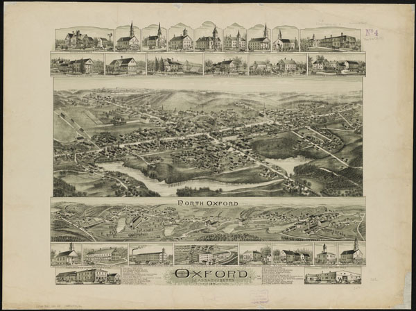 1891 map of Oxford, Massachusetts