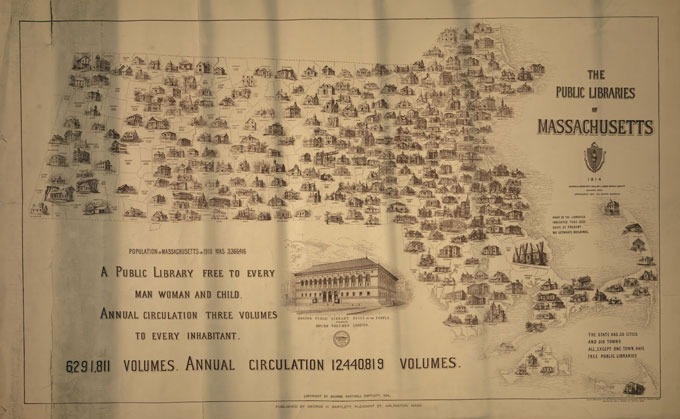 1914 library volumes and population map of Massachusetts