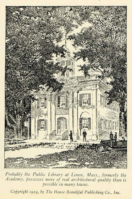 Drawing of Lenox Public Library from 1919