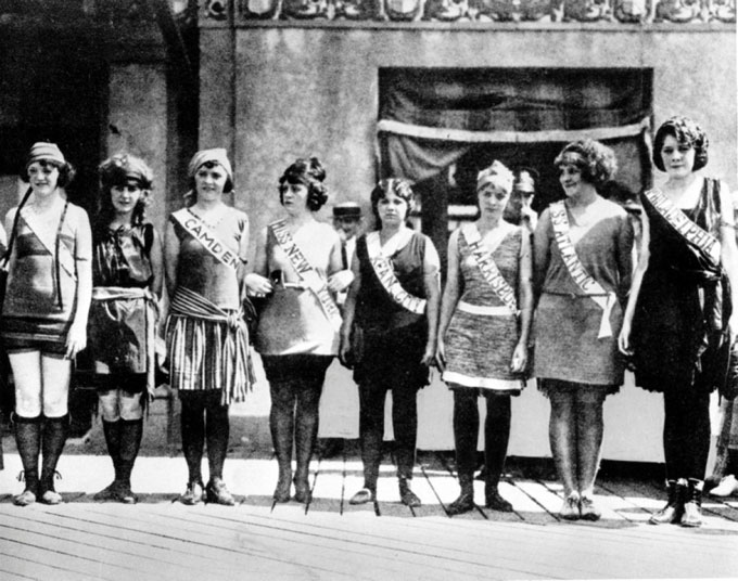 The first Miss America pageant -- swimsuit competition
