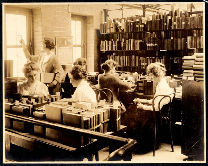 Tech services librarians at the Newton Public Library, circa 1920s