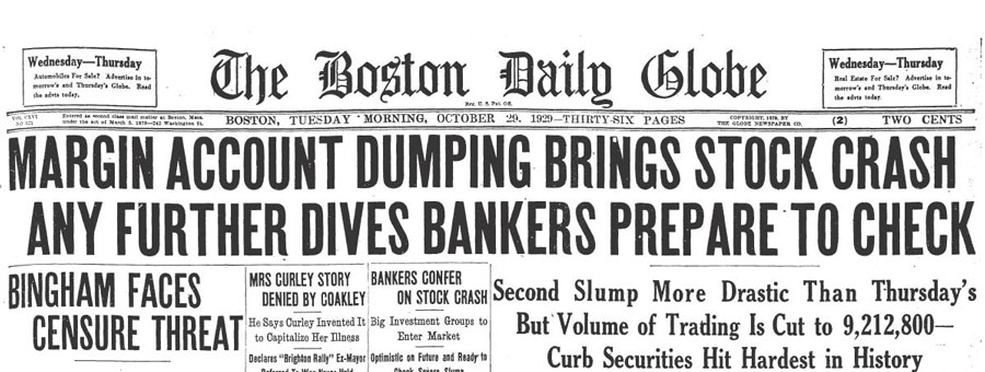 Boston Daily Globe headline -- October 29, 1929