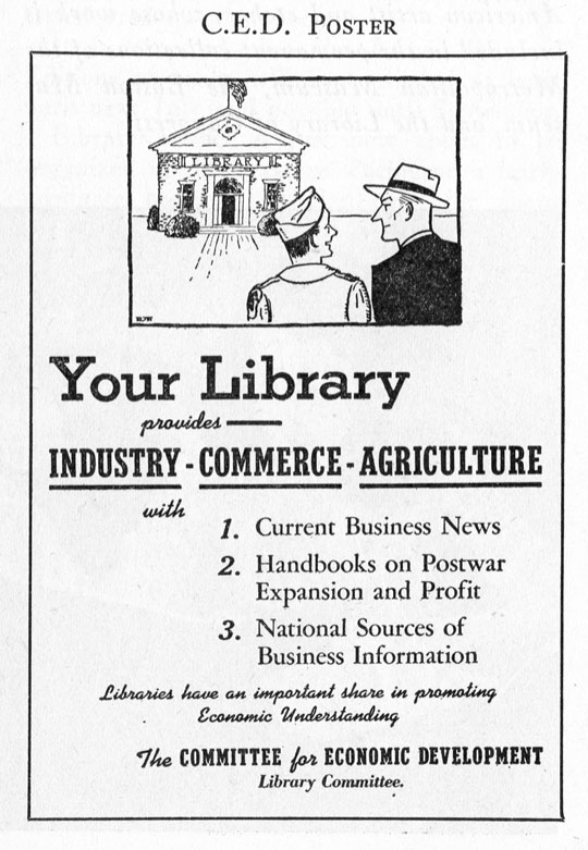 Poster listing services of the ALA's Committee for Economic Development