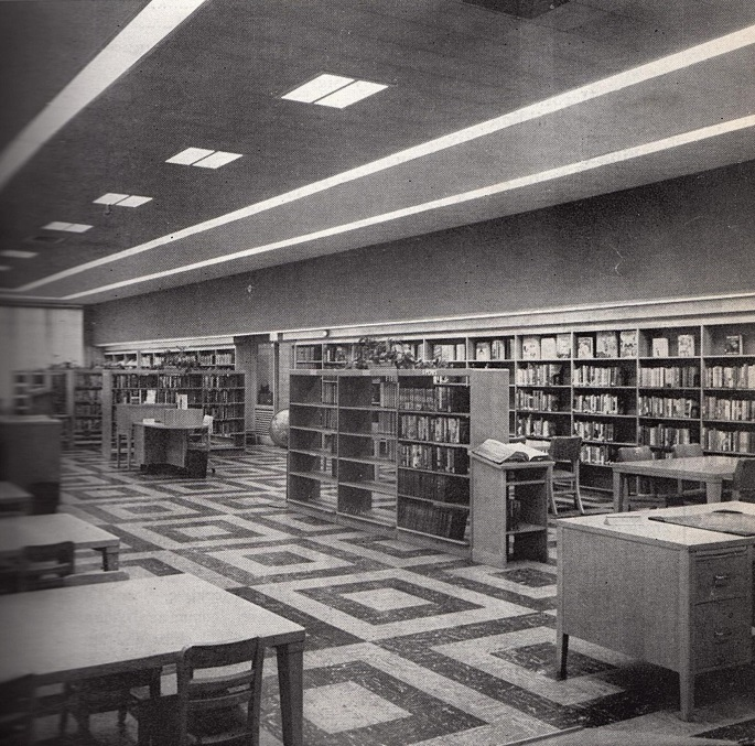 Inside the North Cambridge branch library, 1958