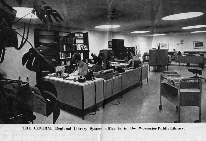The Central Regional Library System office in the Worcester Public Library