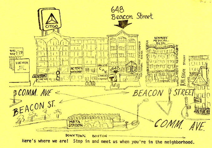 Map showing the Beacon Street location of the MBLC in the 1970s
