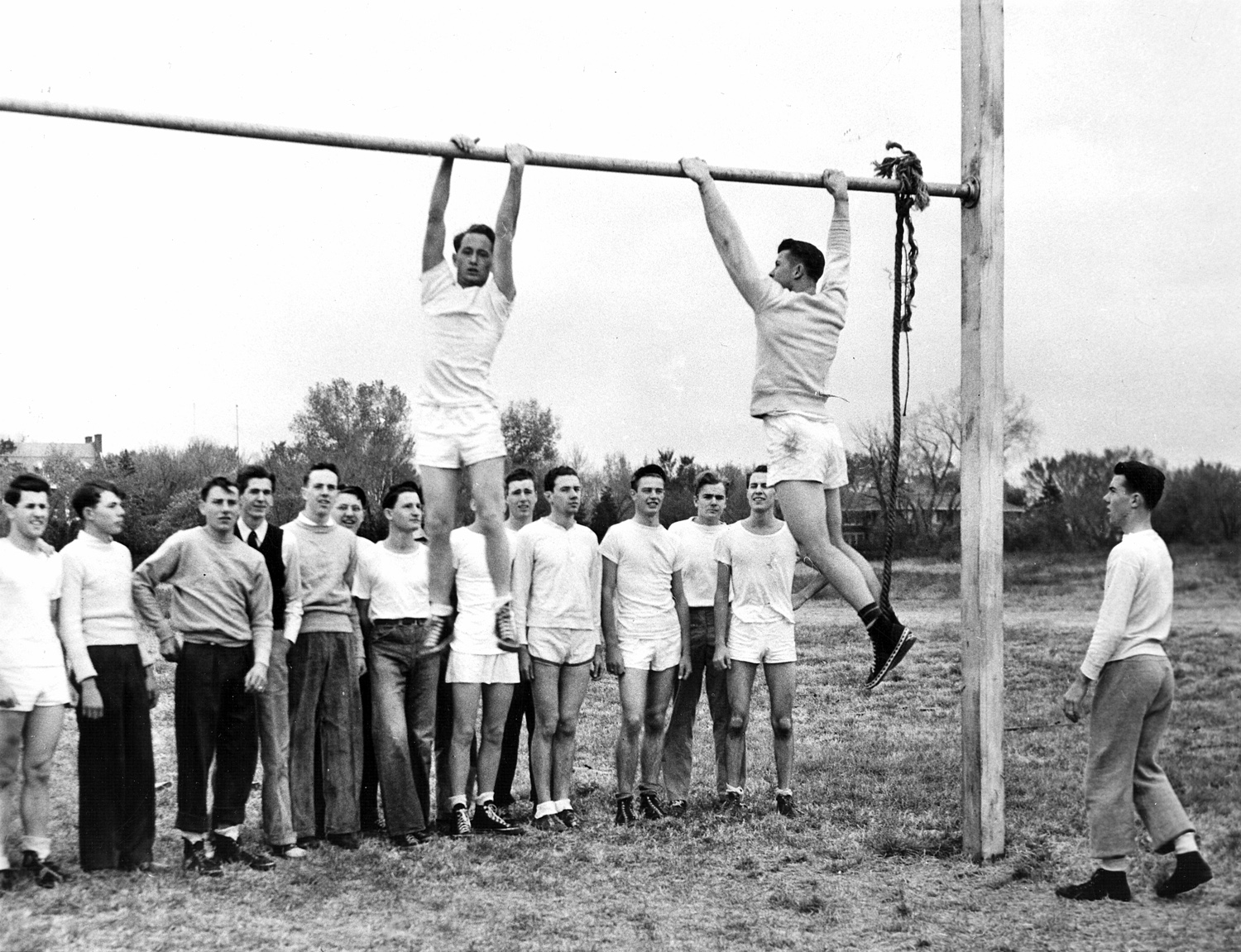 Students on Clyde Baller's hazard course at the University of Omaha, 1942