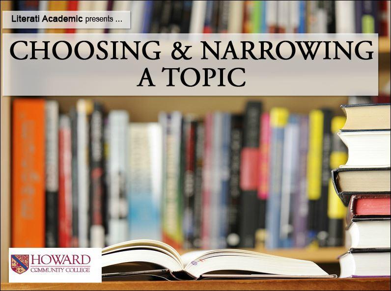 Screenshot of Literati Choosing and Narrowing a Topic Tutorial.
