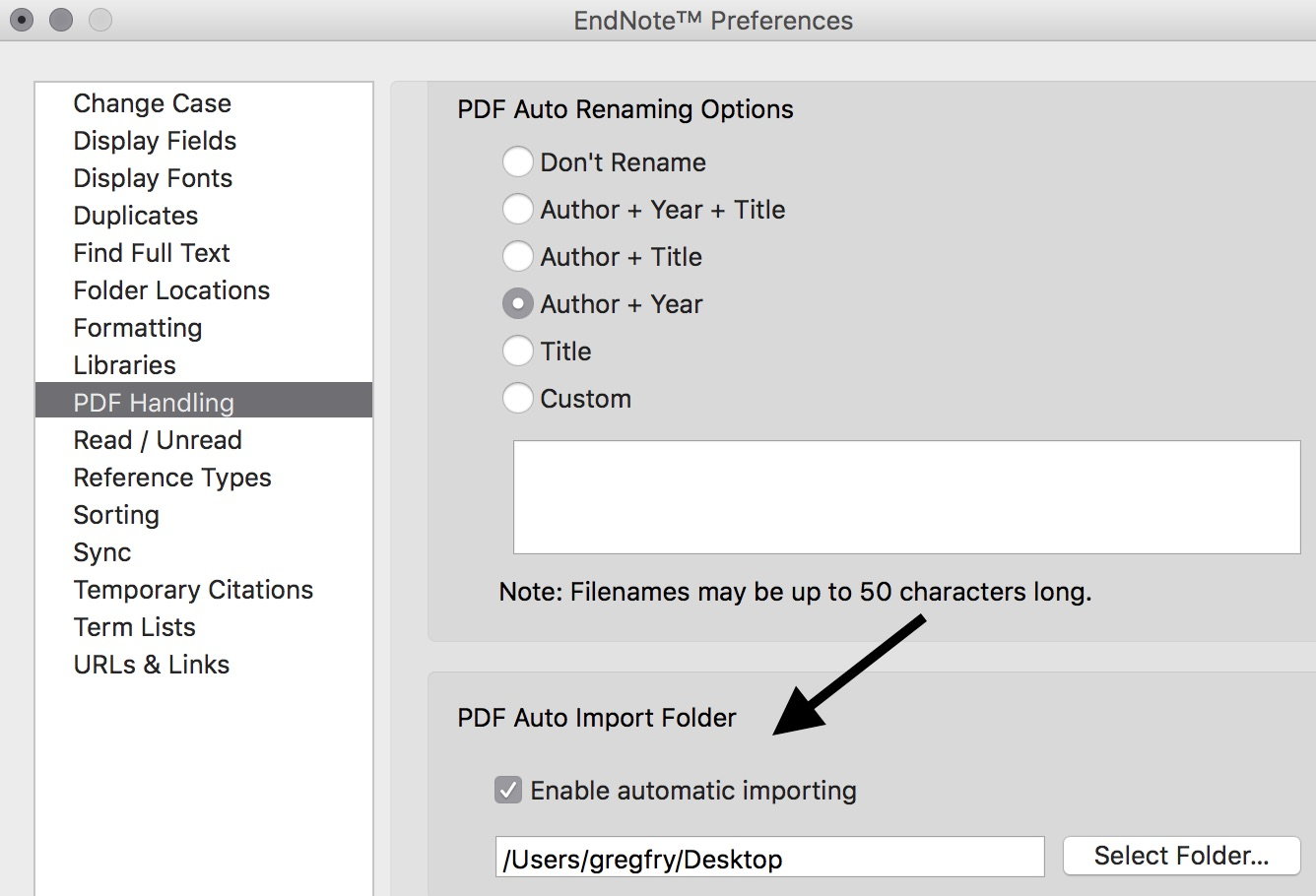 In the PDF Handling section of EndNote Preferences menu, there's a check box to Enable automatic importing, and a field to select the download folder