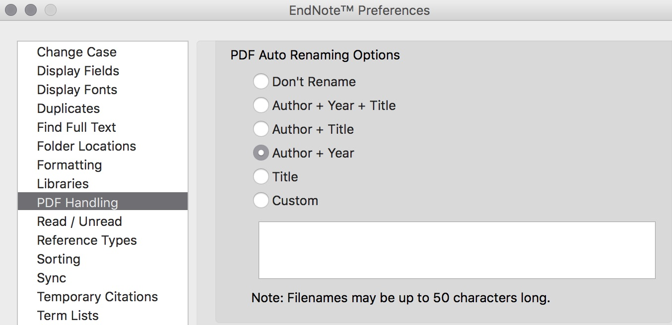 In the PDF Handling section of the EndNote Preferences menu, you can select to automatically rename with author and title, author year and title, just title, or a customized option