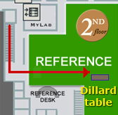 The Dillard Table is located on the second floor of the library in the Reference area, just beyond the stairs to the 3rd floor.