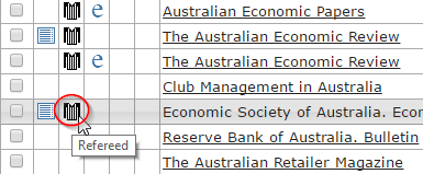 Image shows Australian economic papers, The Australian economic review, and Economic Society of Australia - Economic papers are listed as peer reviewed in Ulrichsweb.