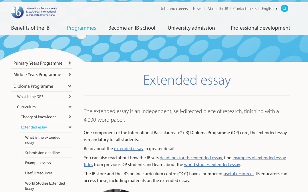 ib extended essay Student guide: extended essays in biology overview an extended essay in biology provides you the student with an opportunity to apply a range of skills while.