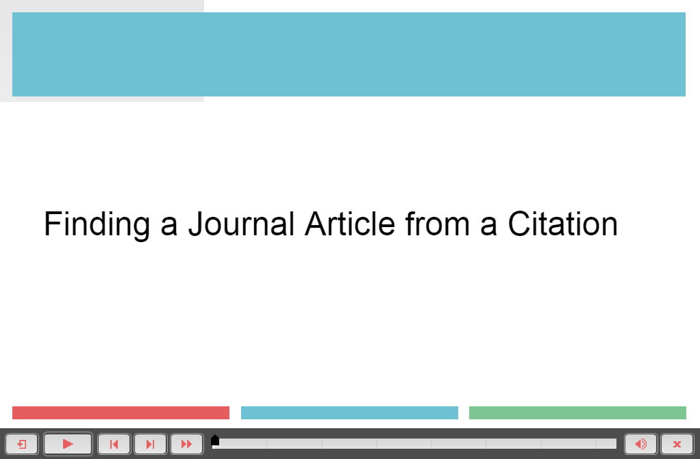 Finding a Journal Article from a Citation