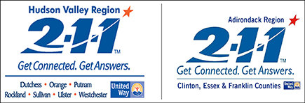 Hudson Valley Region 211 Get Connected. Get Answers logo and hotlink