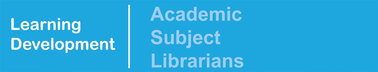 Academic Subject Librarians banner, accessible link in the list of database guides