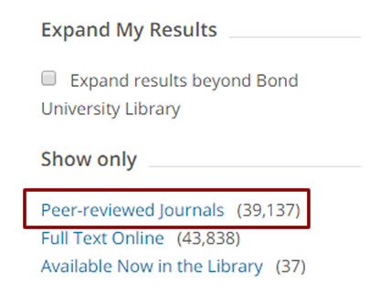 Illustration - peer review filter in Library Search