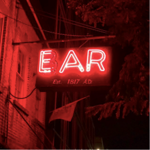 Signage outside of the Ear Inn. It definitely gives the vibe Spooky New York City